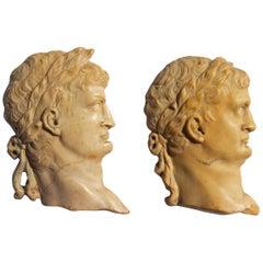 Grand Tour Pair of Marble Relief Carvings of Roman Dignitaries