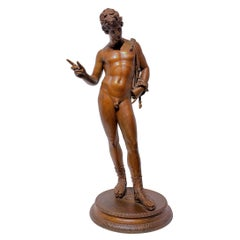 Grand Tour Patinated Bronze Sculpture of Narcissus by Chiurazzi Naples Foundry