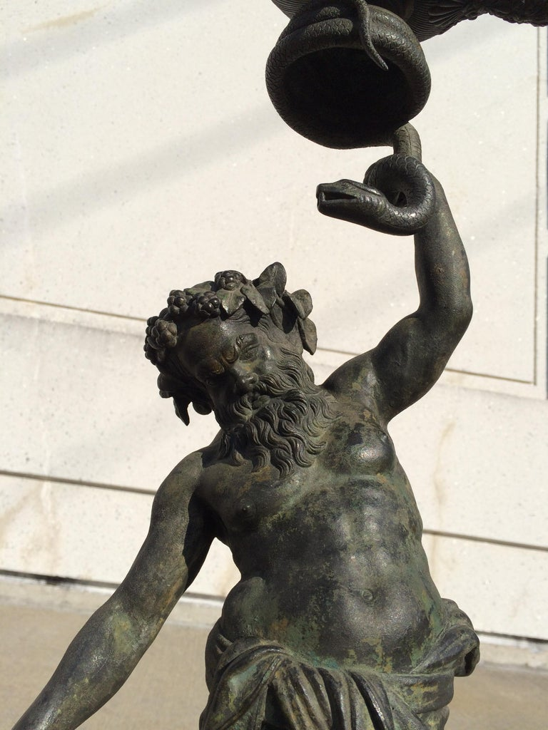 Grand Tour Pompeian Bronze of Silenus, Large Scale For Sale 5