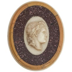 Grand Tour Porphyry, Yellow and White Marble Paperweight, Italian, late 19th C.