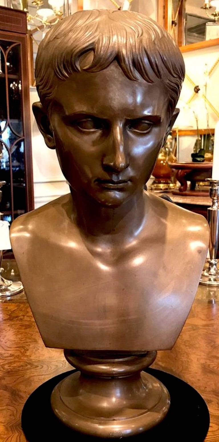 Grand Tour portrait bust of Caesar Augustus, Benedetto Boschetti Roma, 1900. Beautiful untouched patina.