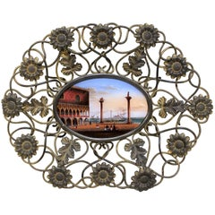 Grand Tour Reverse Painted Glass Plaque of the Piazza San Marco Venice
