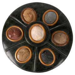 Grand Tour Serpentine Inkwell and Cover Inset with 7 Lava Stone Cameos, 19th C