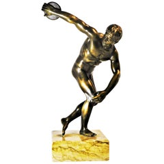 Grand Tour Souvenir Bronze Figure of Discobolus, After the Antique by Myron