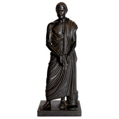 Grand Tour Souviner / Patinated Bronze Sculpture of Sophocles 'Greek Tragedian'