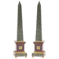 Grand Tour Style Bronze Mounted Hard Stone Obelisks