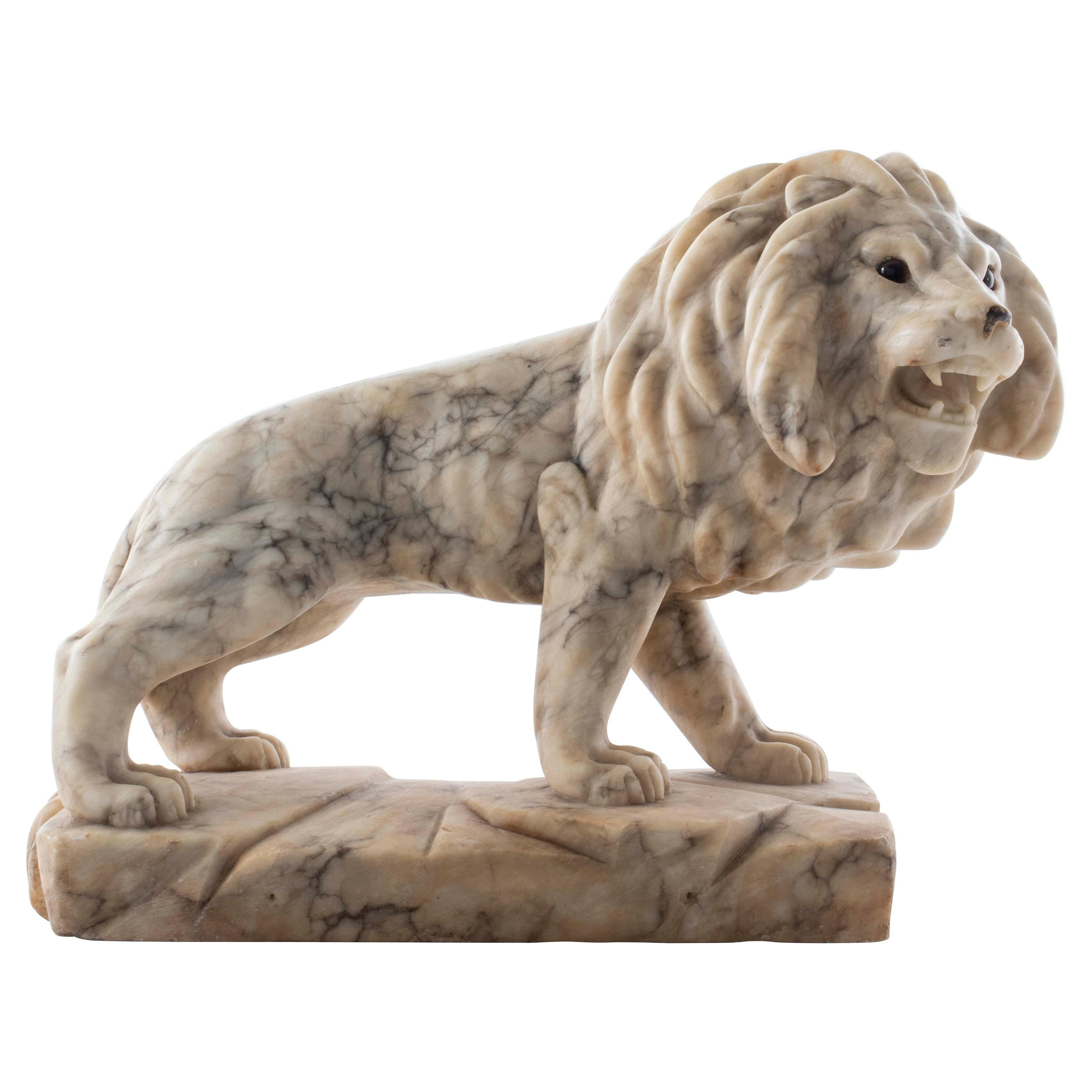 Grand Tour Style Carved Marble Lion Sculpture