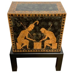 Grand Tour Style Polychromed Greek Motif Cabinet on Stand