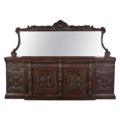 Grand Victorian Carved Oak Mirrored-Back Sideboard
