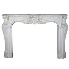Grand White Statuary Marble Antique Fireplace Surround