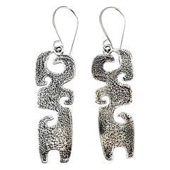 Grandchildren, cast silver earrings Melanie Yazzie contemporary Navajo designs