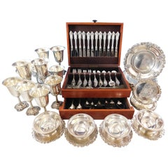 Grande Baroque Wallace Sterling Silver Flatware 103 Pc Set and Hollowware Plates