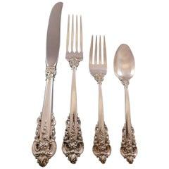 Grande Baroque, Wallace Sterling Silver Flatware Set of 12 Service Dinner 54 Pcs