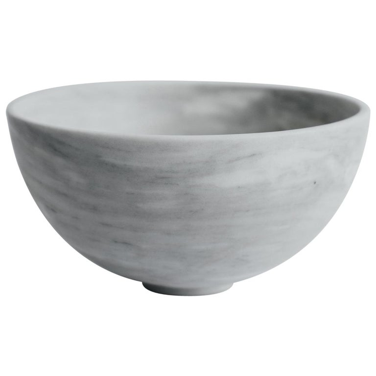 Chica Bowl in White Marble, in Stock For Sale