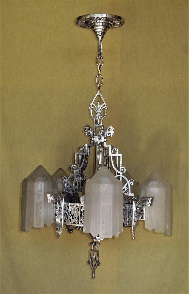 Aluminum Grande Dame of American Art Deco Lighting, circa 1932 For Sale