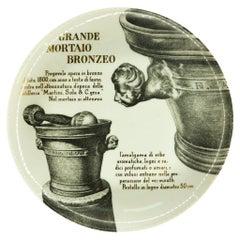 Grande Mortaio Bronzeo Plate for Martini & Rossi, by P. Fornasetti, 1960s