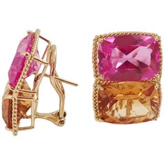 Grande Rope Twist Earring with Hot Pink Topaz and Orange Citrine
