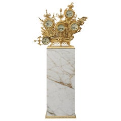 Modern Classic Grandfather Floor Clock, Polished Brass and Calacatta Gold Marble