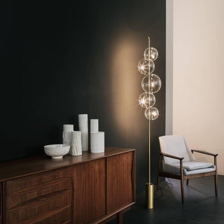 Grandine Black Five Lights contemporary Floor Lamp Blackened Brass Blown Glass For Sale 5