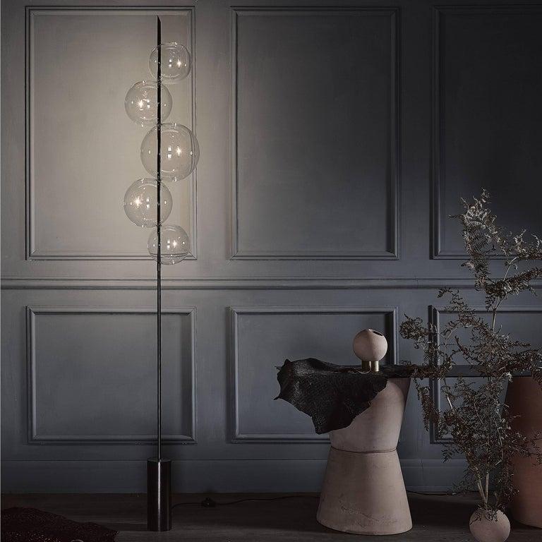 Contemporary Grandine Black Five Lights contemporary Floor Lamp Blackened Brass Blown Glass For Sale