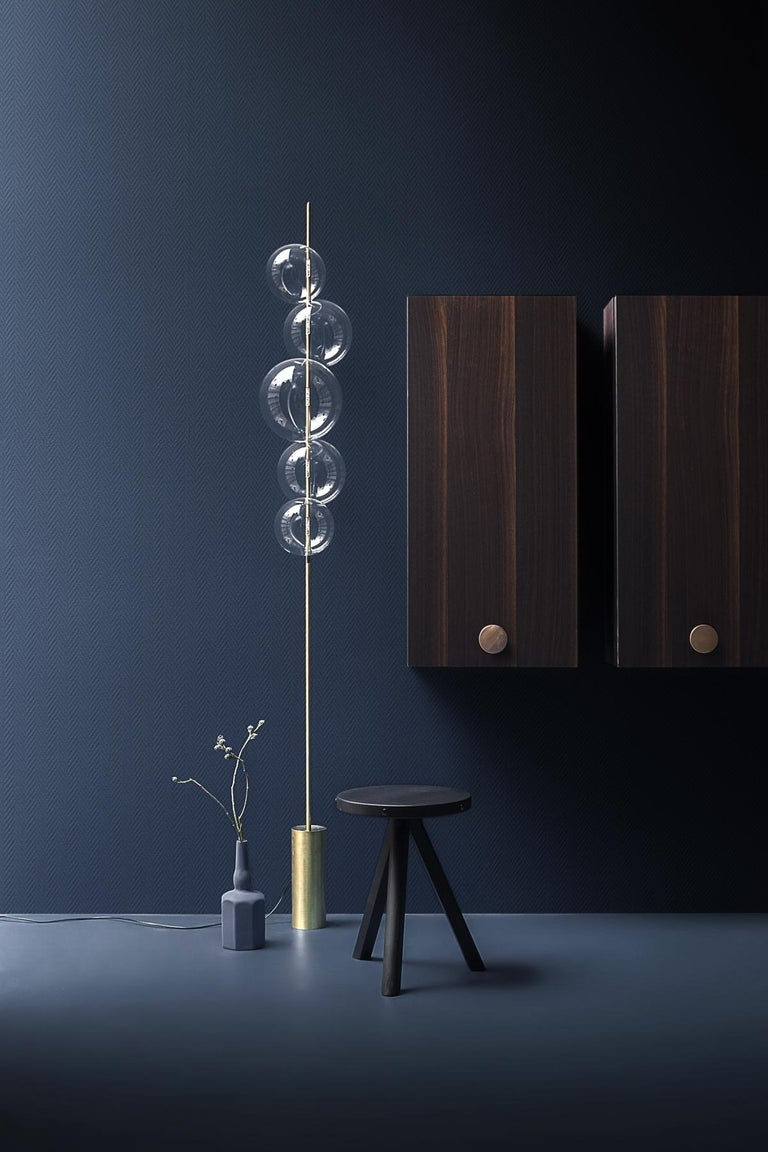 Grandine Five Lights Contemporary Floor Lamp Brushed Brass Blown Glass For Sale 2