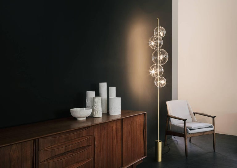 Italian Grandine Five Lights Contemporary Floor Lamp Brushed Brass Blown Glass For Sale