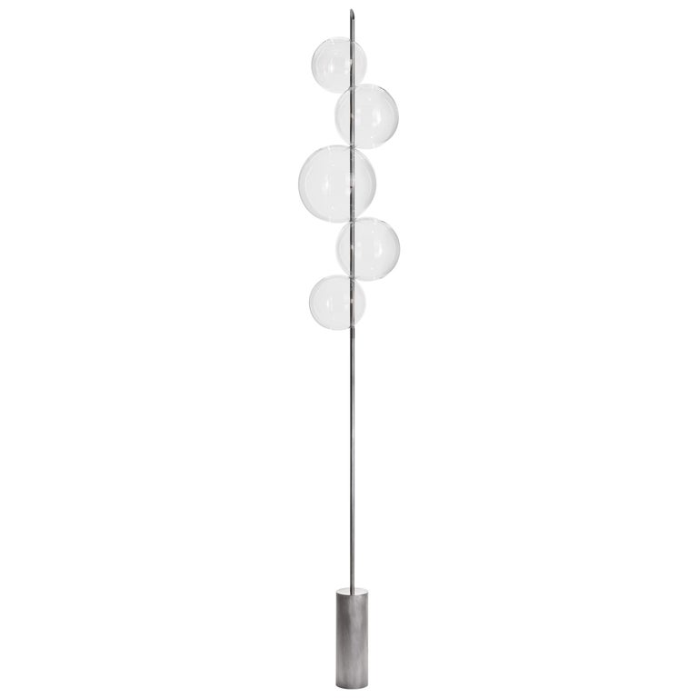 Grandine Silver Five Lights contemporary Floor Lamp Tarnished Silver Brass  For Sale