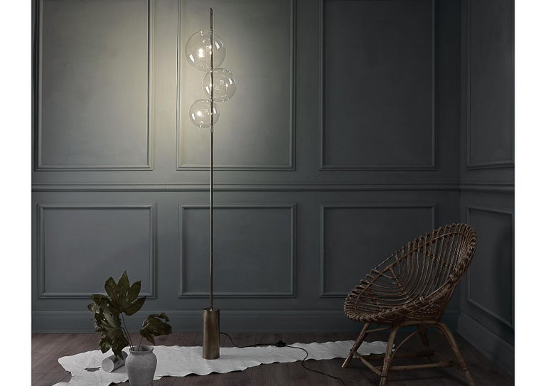 Minimalist Grandine Three Lights Aged Brushed Brass Minimal Sculptural Floor/Standing Lamp For Sale
