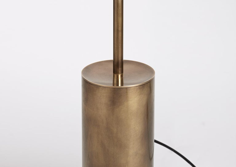 Hand-Crafted Grandine Three Lights Aged Brushed Brass Minimal Sculptural Floor/Standing Lamp For Sale