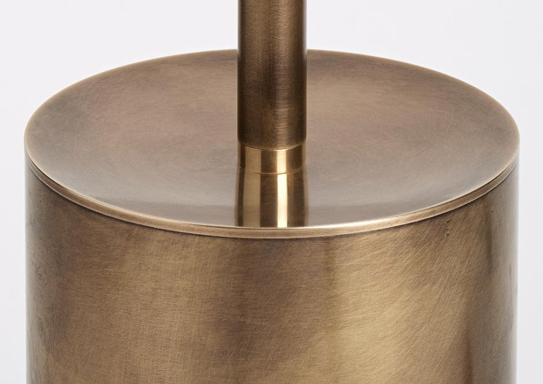 Grandine Three Lights Aged Brushed Brass Minimal Sculptural Floor/Standing Lamp In New Condition For Sale In Novellara, IT