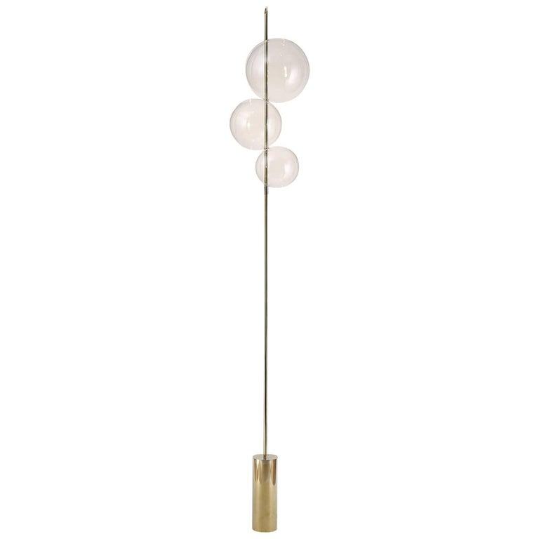 Grandine Three Lights Mirror Polished Br Sculptural Floor Standing Lamp For