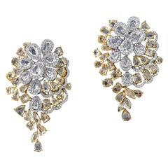Grandiose 18 Karat White and Yellow Gold, and Diamond Earring