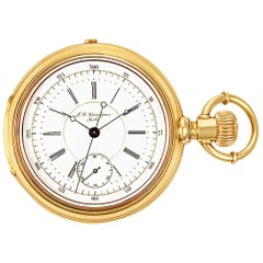 Grandjean Pocket Watch 1833 18 Karat White Dial Manual Watch