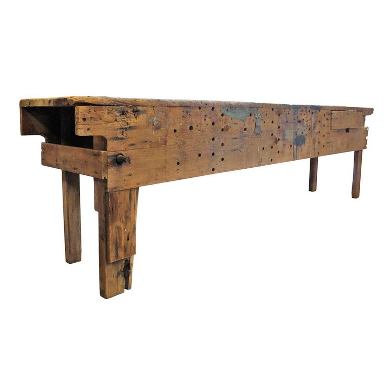 An homage to all the honorable grandpas out there, this workbench had to have a personal name because it was someone's personal creation. This massive workbench is a testament to handmade American craftsmanship; a bevy of scars, paint spills, and