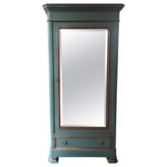 Grange French Country Provencal Greenish Blue Mirrored Armoire Wardrobe