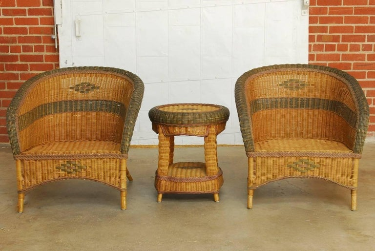 Grange Style French Wicker Club Chairs And Table At 1stdibs