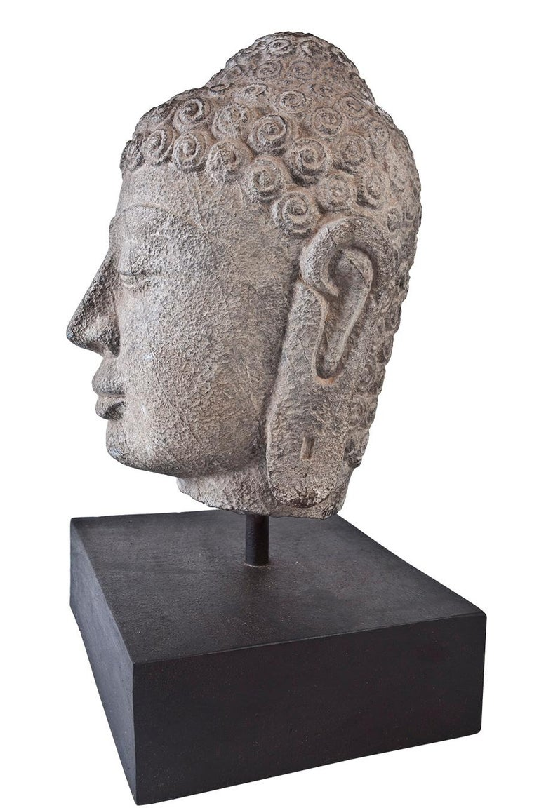 Nepalese Granite Buddha Head, Early 1900s, India  For Sale