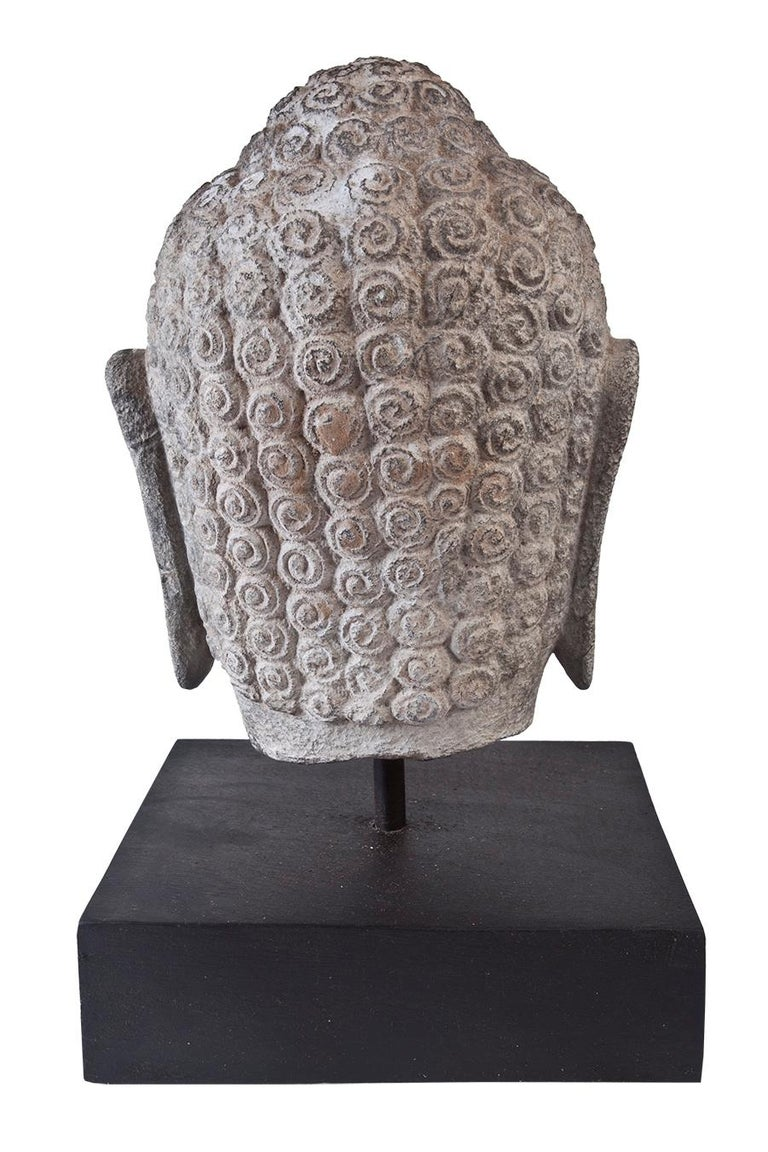 Granite Buddha Head, Early 1900s, India  In Good Condition For Sale In Nantucket, MA