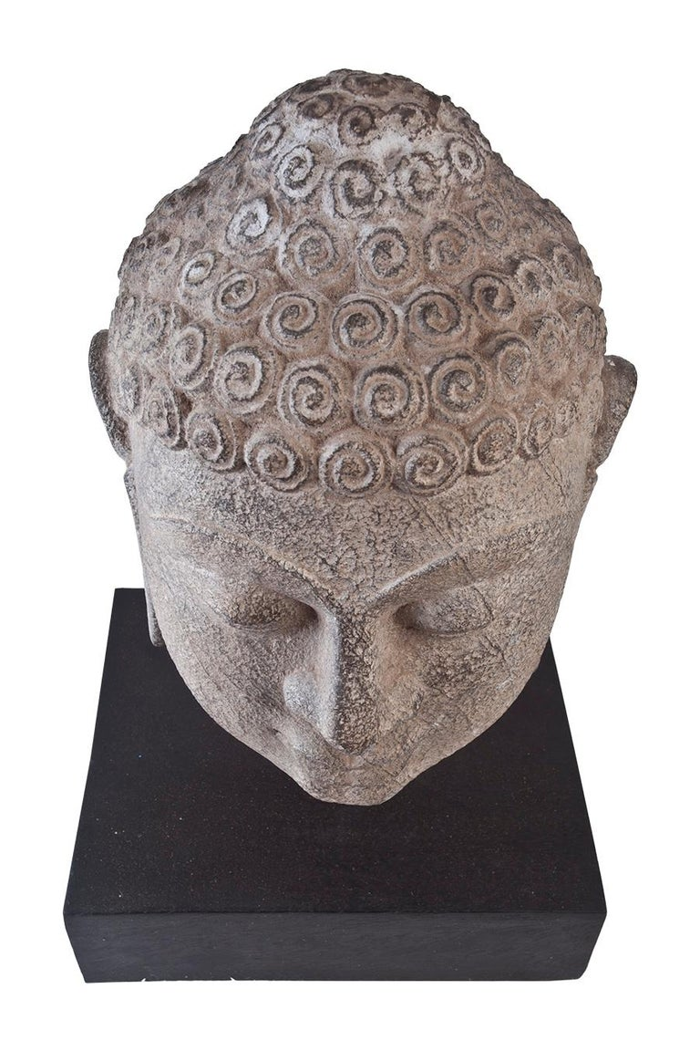 20th Century Granite Buddha Head, Early 1900s, India  For Sale