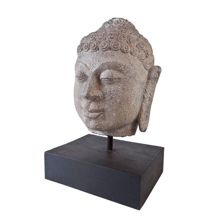 Granite Buddha Head, Early 1900s, India  For Sale