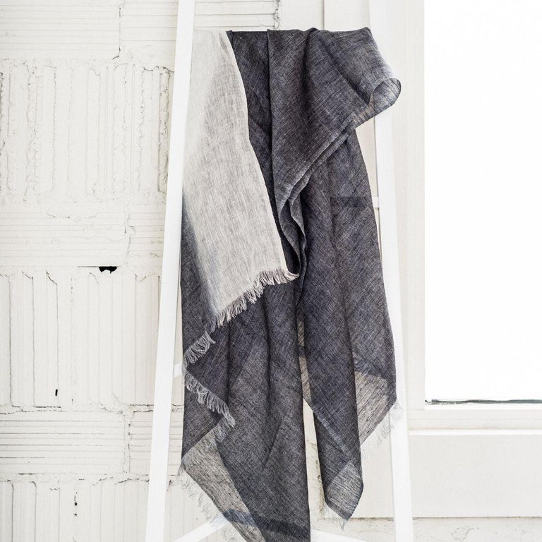Modern GRANITE Linen Scarf / Wrap / Shawl For Sale