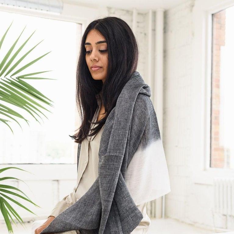 Hand-Woven GRANITE Linen Scarf / Wrap / Shawl For Sale