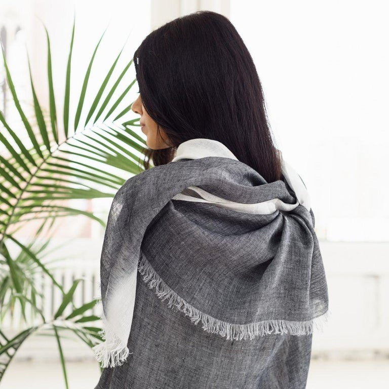 GRANITE Linen Scarf / Wrap / Shawl In New Condition For Sale In Bloomfield Hills, MI