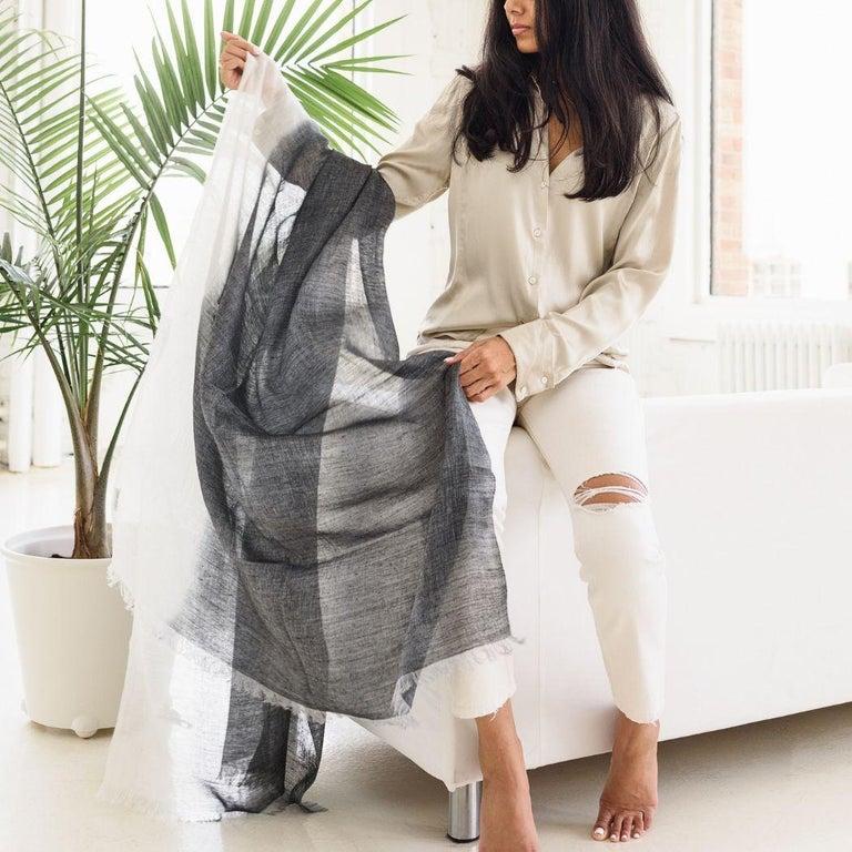 Contemporary GRANITE Linen Scarf / Wrap / Shawl For Sale