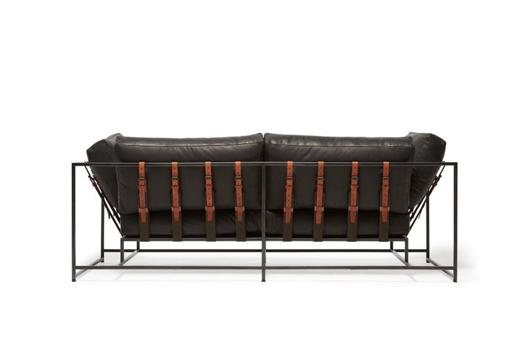Modern Granite Leather & Blackened Steel Two Seat Sofa For Sale