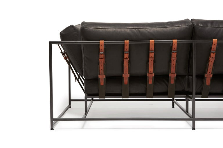 American Granite Leather & Blackened Steel Two Seat Sofa For Sale