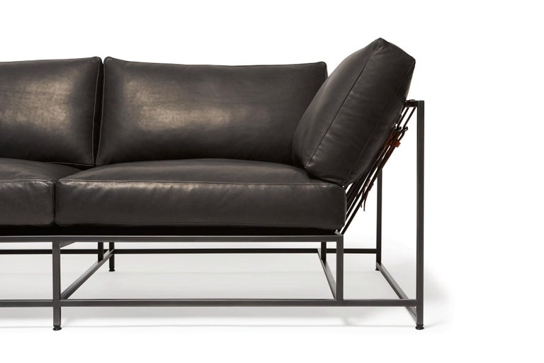 Granite Leather & Blackened Steel Two Seat Sofa In New Condition For Sale In Los Angeles, CA