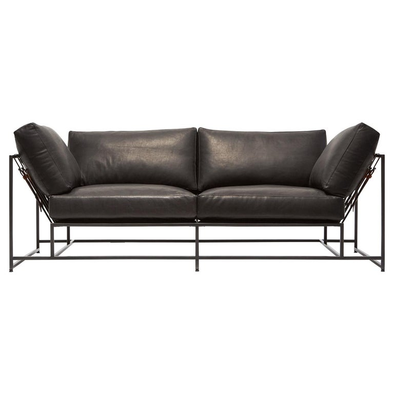 Granite Leather & Blackened Steel Two Seat Sofa For Sale