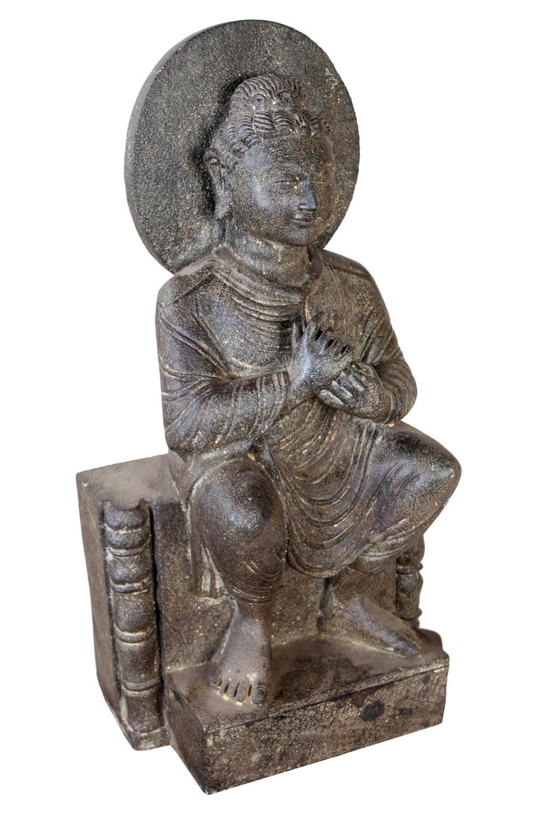 A rare find and becoming impossible to get, an early 1900s, full-body granite Buddha. The hand mudra here is Dharmachakra, Sanskirt for Wheel of Dharma; and one of the most important gestures in Buddha's life as it was used in his first sermon after
