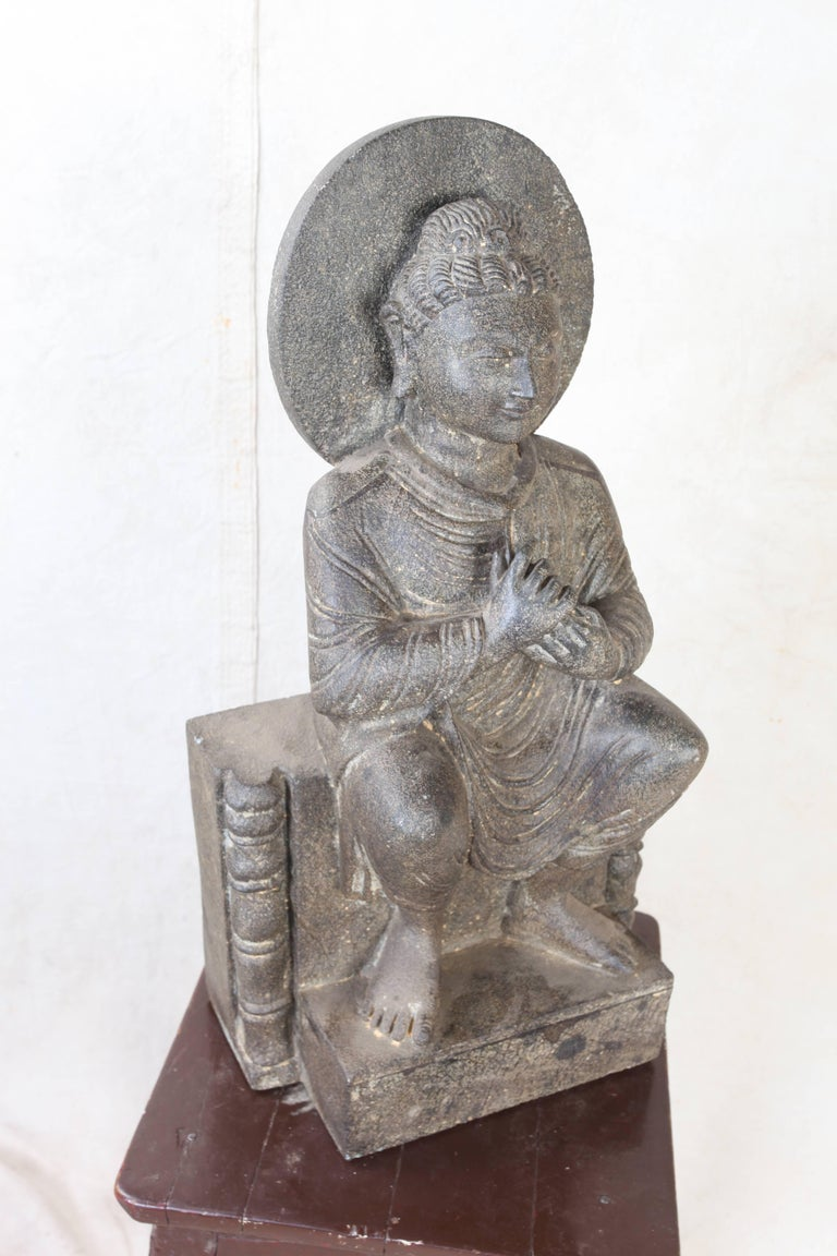 Indian Granite Sitting Buddha, India, Early 1900s For Sale